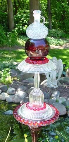 Garden totem made from repurposed glass.