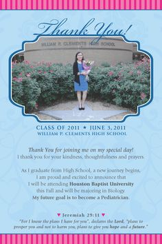 Custom Graduation Announcement And Thank You Card