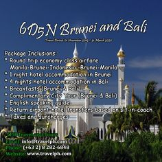 6 DAYS BRUNEI & BALI (With Round trip Airfare via Royal Brunei Airlines) Minimum of 2 persons  For more inquiries please call: Landline: (+63 2) 8 282-6848 Mobile: (+63) 918-238-9506 or Email us: info@travelph.com #Brunei #Bali #TravelPH #TravelWithNoWorries Royal Brunei Airlines, Airport Hotel, 1st Night, Round Trip, Manila, Bali, Tours, City