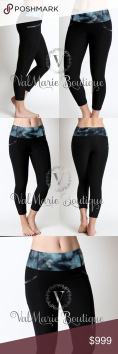 """LIGHT COMPRESSION YOGA PANTS LIGHT COMPRESSION CAPRI LEGGINGS WITH SPACE PRINT BAND  WAIST: 24, INSEAM: 22 1/4 - THESE ARE UNSTRETCHED MEASUREMENTS. WHEN LEGGINGS ARE ON, THEY CONFORM TO YOUR HEIGHT UP TO 5,9"""", Above 5,9"""" will appear as Shorter Capri length.  - MEASURED FROM SMALL  Content: 88% polyester 12% spandex - fits snug because they are made this way for slight compression to smooth legs from the look of cellulite. S(0-2) M(4-6) L(8-10) ValMarie Boutique Pants Capris"""