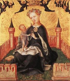 Stefan Lochner (German artist, 1400 Madonna and Child in Garden Christian Paintings, Catholic Books, Graf, Mary And Jesus, Madonna And Child, Blessed Virgin Mary, John The Baptist, Religious Icons, Blessed Mother