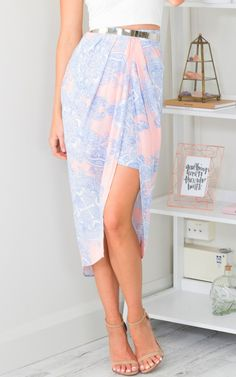 Make Away Skirt in Blue Print | SHOWPO Fashion Online Shopping