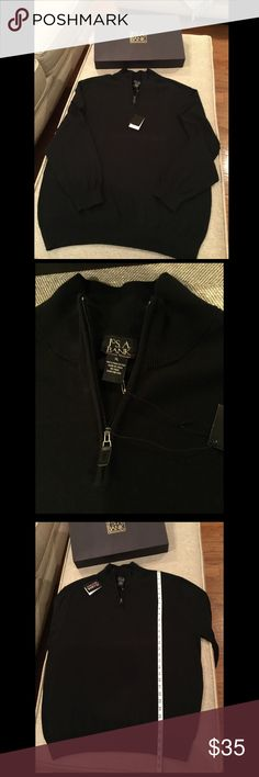 🆕NWT JoS. A.BANK Black Signature Half-Zip Sweater NWT JoS. A. Bank Black Signature Traditional Fit Half-Zip Sweater. Finely crafted 100% pima cotton, this half-zip sweater is pleasingly soft and durable. Machine wash. Comes with gift box. JoS. A. BANK Sweaters Zip Up
