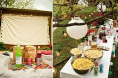 Backyard Movie Party inspiration - love the popcorn table in this picw/ lanterns, string lights, scoop popcorn into brown paper lunch sacks