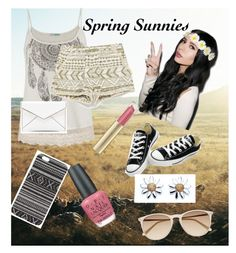 """""""A Spring Look"""" by stylememint ❤ liked on Polyvore featuring moda, maurices, Zara, Converse, Witchery, With Love From CA, Max Factor, OPI e Rebecca Minkoff"""