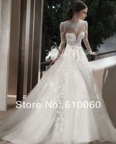 2014 New style luxury Appliques A-Line White/ivory high Neck Lace long sleeve wedding dress custom make +++