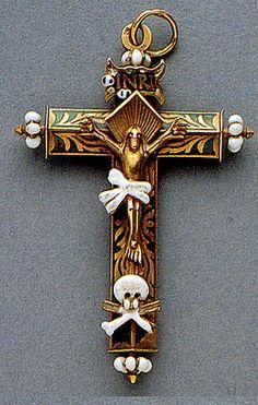 16th Century enameled cross with skulls