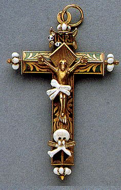 16th Century enameled memento mori cross with skulls.