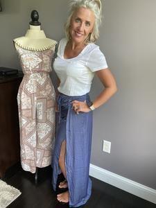Deep Side Slit Maxi Skirt – Riley and Harper Drawstring Waist, Satin, Deep, Boutique, Skirts, Fashion, Moda, Fashion Styles, Skirt