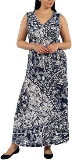 24/7 Comfort Apparel Indigo Seas Maxi Dress-Plus