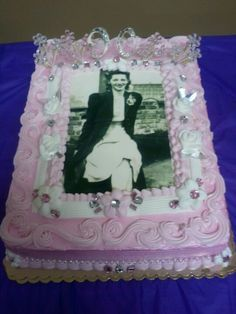 My Grandmother's 90th Birthday cake that was designed and decorated by me :)