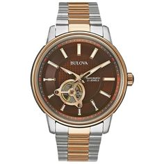 Bulova Men's Two Tone Stainless Steel Automatic Watch ($349) ❤ liked on Polyvore featuring men's fashion, men's jewelry, men's watches, multicolor, bulova mens watches, mens watches, mens skeleton watches, mens watches jewelry and colorful mens watches