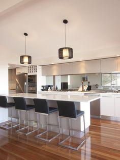White kitchen, Mirror Tiles, need to add waterfall Basic Kitchen, New Kitchen, Kitchen Ideas, Kitchen White, Kitchen Layout, Outdoor Kitchen Design, Modern Kitchen Design, Kitchen Interior, Cool Kitchens