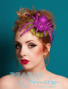 Pink Glittered Spider Fascinator Lime Green Hat Halloween Creepy Burlesque Pop Surreal Millinery Royal Ascot Quirky Hair Accessory