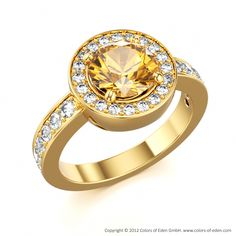 Ecstasy Ring with Round Citrine and Round Diamonds with 18k Yellow Gold.