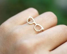 Cute and tiny Glasses Adjustable ring. Choose your color. Gold or Silver. DoubleBJewelry. Double B. DoubleB.