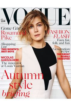 Wow. Rosamund Pike covers UK Vogue for October 2014. Can't wait for Gone Girl!