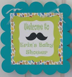 Baby Boy Ties and Mustaches Shower Door by DreamPartyPaperie