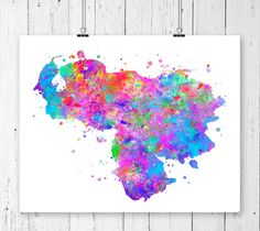 Venezuela Watercolor Map 2 Art Print Poster Wall by ZuzisStudio