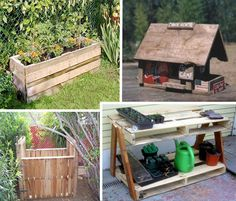 planters, compost bins, garden benches from pallets