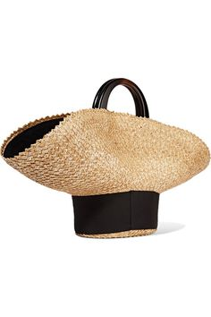 EUGENIA KIM Flavia grosgrain-trimmed straw tote$495 Sand straw, black grosgrain Snap-fastening tab at open top  Weighs approximately 1.8lbs/ 0.8kg Made in Italy
