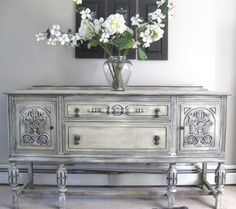 Antique sideboard buffet painted with Annie Sloan chalk paint.
