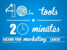 """Slideshare is another method to share images or a slide deck. 40 Tools in 20 Minutes: Hacking your Marketing Career by Eric Leist via slideshare """"There are a ton of free tools to make tasks easier. Inbound Marketing, Marketing Tools, Business Marketing, Email Marketing, Content Marketing, Social Media Marketing, Digital Marketing, Social Media Trends, Social Media Channels"""