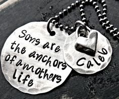 THE ORIGINAL Sons are the anchors / Personalized Mothers Necklace / Mother and Son Necklace via Etsy