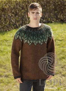 Icelandic sweaters and products - Fjöður (Feather) Mens Wool Sweater Brown Tailor Made - NordicStore Icelandic Sweaters, Wool Sweaters, Brown Sweater, Men Sweater, Nordic Sweater, How To Start Knitting, Knitted Shawls, Knitting Patterns, Sweater Patterns