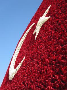 Floral Turkish Flag at the Ataturk Tomb in Ankarra, Turkey