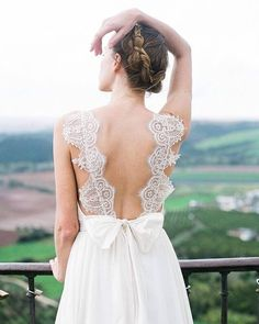 For the love of back details! Crafted beautifully by @truvellebridal, we just adore the use of the delicate lace as the dress' straps, giving an ultra subtle and serene vibe. Along with the small ribbon, this dress is an epitome of beauty, femininity and romanticism. A classic staple for brides who want shout out their inner chic aura, don't you think? Give us some love and tag your friend!  Photography by @blushwedphotos / Model @upbrittcreek / Hair and makeup by @theartistrycollective