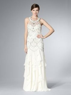 Sue Wong Ivory Halter Gown With Ruffled Skirt Dress $297