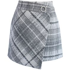 Chicwish Tender  Tartan Tweed Flap Skirt in Grey ($42) ❤ liked on Polyvore featuring skirts, mini skirts, grey, gray skirt, tweed skirt, tartan miniskirts, tartan mini skirt and plaid miniskirt