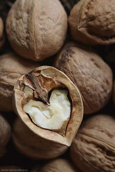 .walnut showing the meat inside | http://www.pinterest.com/elhamzaid/.