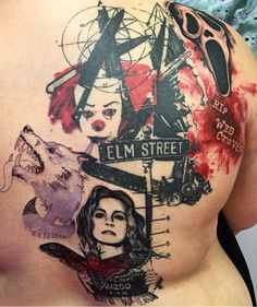 Such an honor to be featured on this horror movie tribute tattoo back piece…