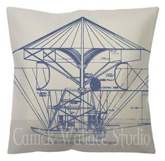 Items similar to Steampunk Canvas Pillow Cotton Canvas and Burlap Blue Old Plane Plans Steampunk Flying Machine Throw Pillow Cover Euro Sham on Etsy Gaming Lounge, Old Planes, Cotton Canvas, Burlap, Steampunk, Throw Pillows, How To Plan, Unique Jewelry, Handmade Gifts