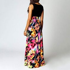 Maternity Styles - prim maternity maxi dress : AMSKY Womens Boho Casual Sleeveless Scoop Neck Tank Floral Print Party Maxi Long Dress Black -- Read more at the picture link. (This is an affiliate link). Romwe, Boho Dress, Dress Up, Bodycon Fashion, Women's Fashion, Fashion Styles, Fashion Rings, Couture, Lady