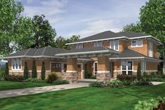 Prairie Style House Plan - 4 Beds 3.50 Baths 4128 Sq/Ft Plan #48-623 Exterior - Front Elevation - Houseplans.com