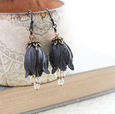 Black Earrings Dangle Drop Earrings Blackened by apocketofposies