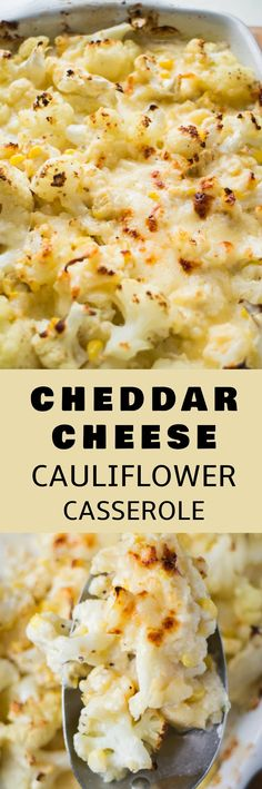 BAKED Cheddar Cheese Cauliflower Casserole recipe! Its vegetarian and loaded with cauliflower and corn! This easy to make low carb, keto casserole can be either a side dish or a main dish!