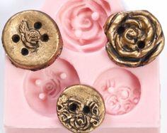 Victorian vintage style rose button mold - resin mold - silicone flexible mold - fondant, candy button mold - clay button mold - mould (710)