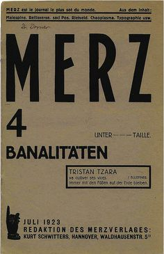 Merz Magazine cover by Kurt Schwitters / Vol 2 Nº 4 / July 1923
