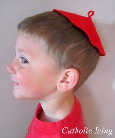 Adorable craft!  Make a zucchetto - cardinal hat craft for kids