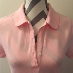 Pink Polo Pale pink polo. 96% cotton 4% spandex. 23 in long. Bust 16 in across. Medium. Madison Tops