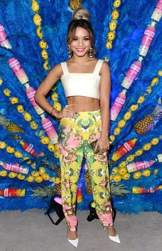 Vanessa Hudgens, printed pants and cropped white top