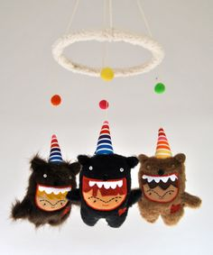 Baby Mobile --- Bears in Party Hats --- Customize to Match You Modern Nursery