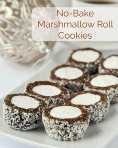 No Bake Christmas Cookies – 20 easy recipes that are freezer friendly too! Marshmallow Roll Cookies – easy, no-bake & freezer friendly! These cookie confections will be popular with all ages, especially around the Christmas season. Marshmallow Cookies, Cocoa Cookies, Xmas Cookies, No Bake Cookies, Shortbread Cookies, Marshmallow Peeps, Cake Cookies, Rock Recipes, Candy Recipes