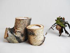 Bougie titulaire, bougeoir en bois, porte-bougies en bouleau, Journal bougeoir, décor Nature, chandelier, bougeoir en direction de l'écorce