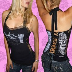 DEMI LOON Fallen Angel Wing Sexy Tattoo Punk Biker Corset Tank Top Tee X/S/M/X/L