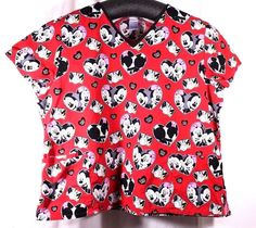 Disney Plus Size 3XL Scrub Top Mickey Minnie Mouse Red Valentine Print Cotton #Disney